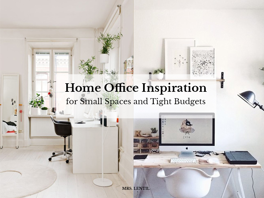 home office insipiration for small spaces and tight budgets mrs lentil. Black Bedroom Furniture Sets. Home Design Ideas